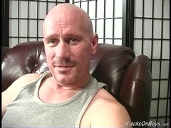 Bald gay daddy welcomes two BBCs in his fucked up butt
