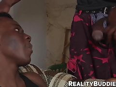 Big dicked ebony stud plows his bottom boy toy from behind