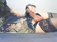 rubbing my tranny cock slowly until the juices flow