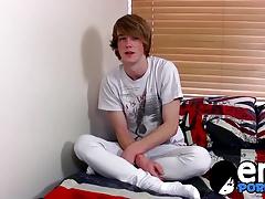 Ginger emo twink Kai Alexander pleasures himself on a bed