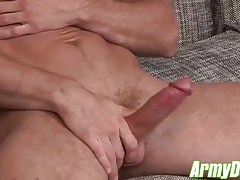 Sexy army dude Craig Cameron wanking his fat stiff pole