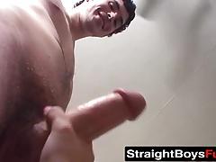 Bi dudes offer their juicy big cocks to a horny busty slut