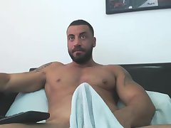Arab manbeast edges his big cock