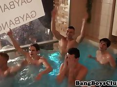 Amateur euros jerking at group party