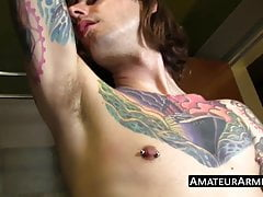 Inked amateur shows his sweaty armpits before jacking off