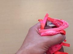 Cum on pink thong