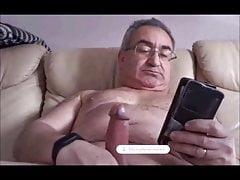 spanish grandpa wanking his cock