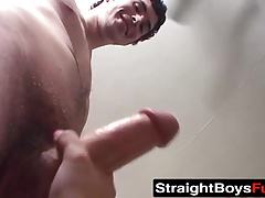 Bi dudes offer their juicy big cocks to a horny busty slut