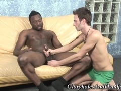 Nasty twink Jaden Holloway gives hand to his black buddy