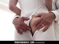 Muscle daddy priest leader barebacks Mormon boy in rirual