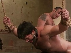 Tied dude gets gis tush whipped