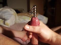 Cum through my new big penis plug (7.1.17)