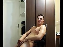 Cutie plays with his hole while beating off
