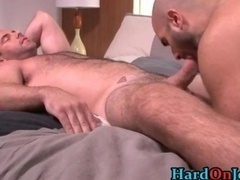 Bushy hunk gets his hairy tush fucked
