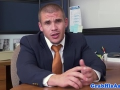 Muscular top boss assfucking black employee