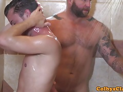 Athletic straight jock pounding ass in shower