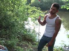Straight gay hunks Adam Bryant and Vadim Black engages in a hardcore gay fucked outdoor