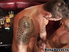 Tattooed euro stripper sucking dick at party