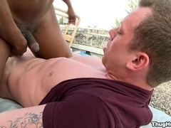 Adam Hardy and his BF make interracial gay love in the street