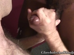 Tattooed queer Dick Ballin shows his handjob skills to his black BF
