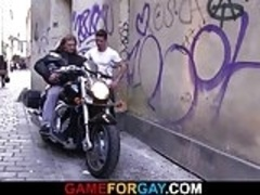 Gay game with muscle biker
