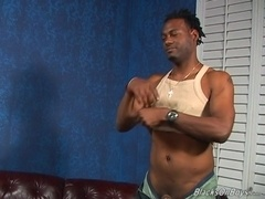 Slutty gay Chip lets a black stud drill his butt from behind