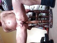 bar stool leg used as butt plug up gay ass bdsm