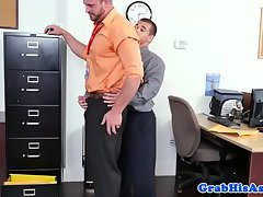Beefy office worker cocksucking colleague