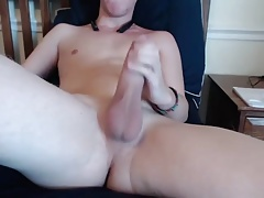 Boy with huge ciccumcised shaved penis masturbating 01