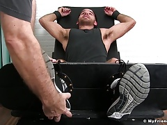 Hairy stallion Jackson Grant gets restrained and tickled