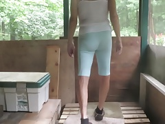 Sissy bitch in his new slut leggings.