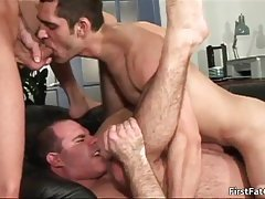 Alex gay dude gets jizzed all over in threesome