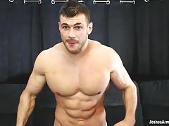 Huge oiled up bodybuilder eats cum