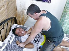 Daddy and Asians Bareback 3-way