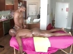 Aroused black masseur giving blowjob ebony ass and moreover loves it