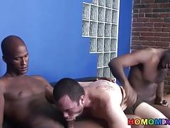 Hung black studs sharing a white guy
