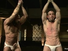 Two muscular gays get their asses toyed and fucked hard