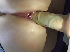 Sissy with 8 inch dildo