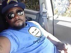 Cute Black Guy Self Facial Cumshot in Car
