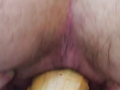 Riding a big dildo with a huge gape at the end!!