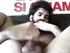 Hairy gay finger his ass