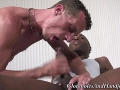 Black gay hunk allows a nasty fairy milks his dick dry