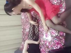 three china shemales use a slave