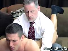Older gay man in suit spanks and jerks young straight