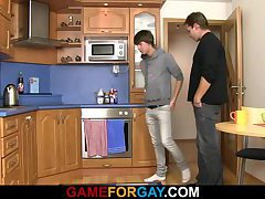 Cute plumber takes it from behind