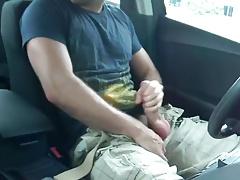 Stroking in my car with a big cumshot