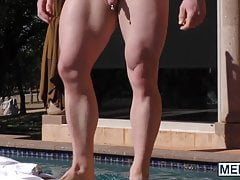 Hunky guys have hardcore anal threesome sex by the pool