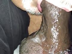 Chub daddy worships cock