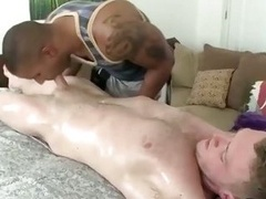 Black masseur blowing off on hot white flag pole & loves it