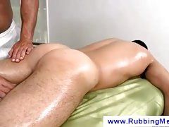 Masseuse works on a guys butt with his tongue